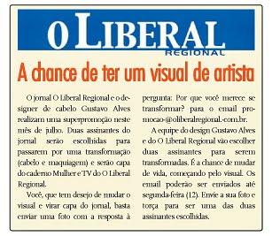 1cc4352ff O salão Design em Cabelo by Gustavo Alves e o jornal Liberal Regional vão  sortear duas assinantes para receberem uma transformação de cabelo   maquiagem e ...