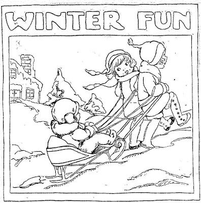 "winter activities coloring pages | Mostly Paper Dolls: ""Winter Fun"" Coloring Page, 1924"