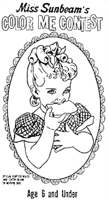 Mostly Paper Dolls: Miss Sunbeam Coloring Contest, 1970