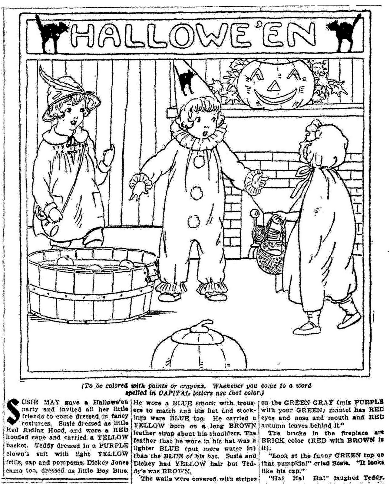 Mostly Paper Dolls: HALLOWEEN Coloring Page, 1922