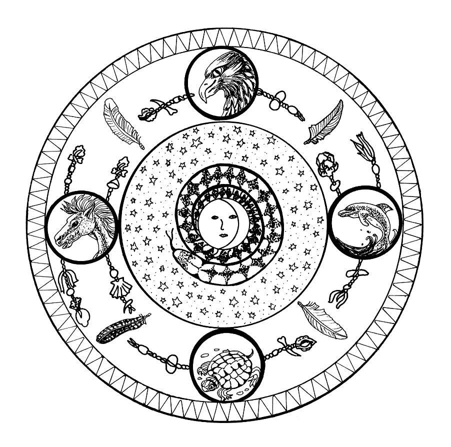 Ser Conscientes Mandala De Los Indios Sol Luna Y Los Cuatro Elementos - Mandalas-indios