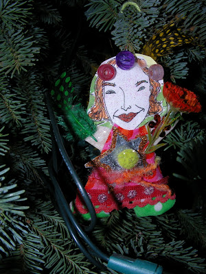 trimming the tree, collage voodoo doll ornament