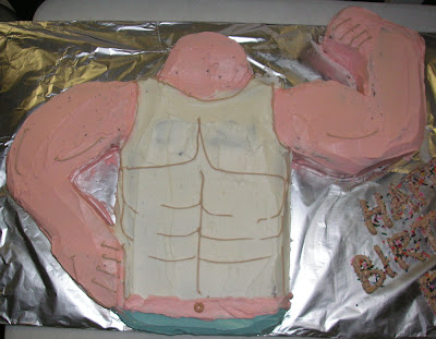 muscle man torso cake