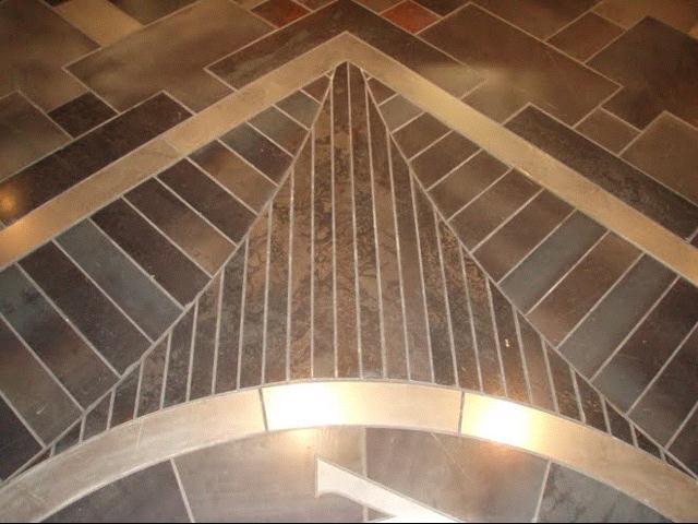 Kmkirby Designs Laser Cut Multicolored Steel Tile Floor