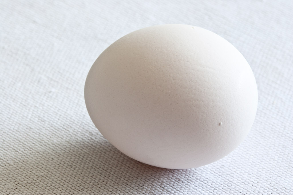 White egg, white cloth