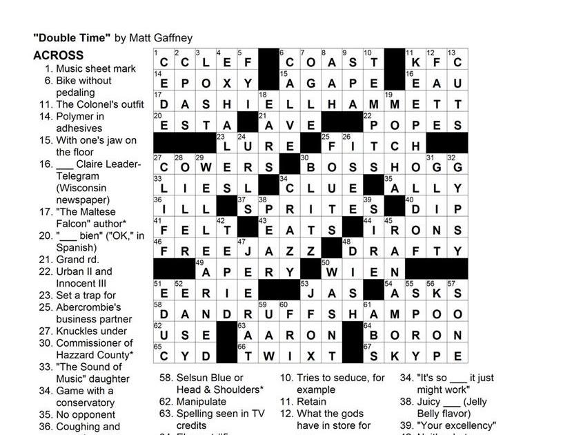 Matt Gaffney's Weekly Crossword Contest: MGWCC #123