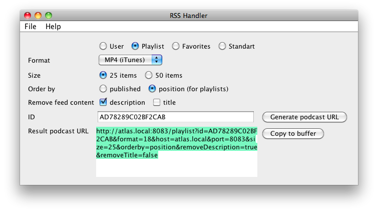 itunes podcast rss feed generator