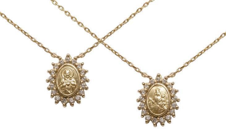 dc886e0538338 Cordão com medalha em pave de brilhantes com medalha Espirito Santo em ouro  branco