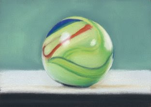green marble pastel painting