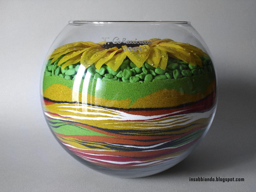 inSABBIAndo: Sand Art: Girasole, vaso decorato con sabbia