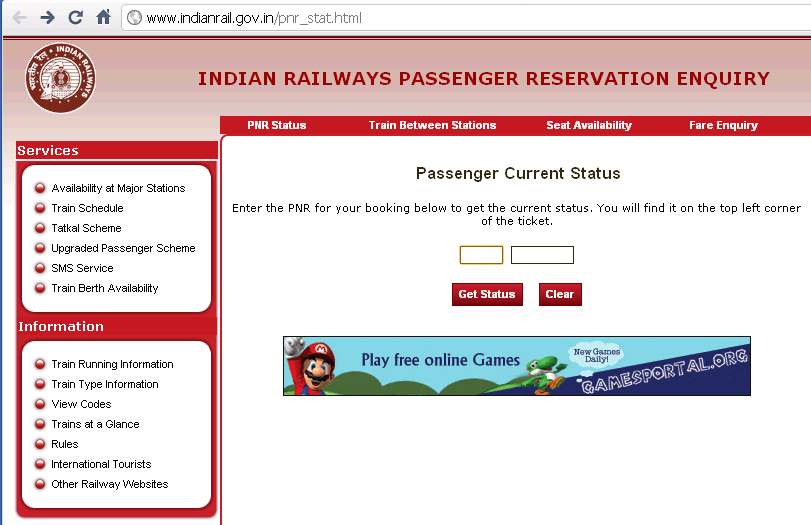 Indian railways passenger reservation enquiry form