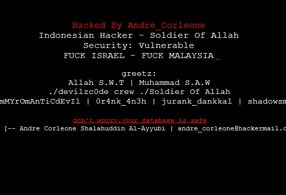 "Indonesian Hacker ""Andre_Corleone"" Deface 2 More Sites"