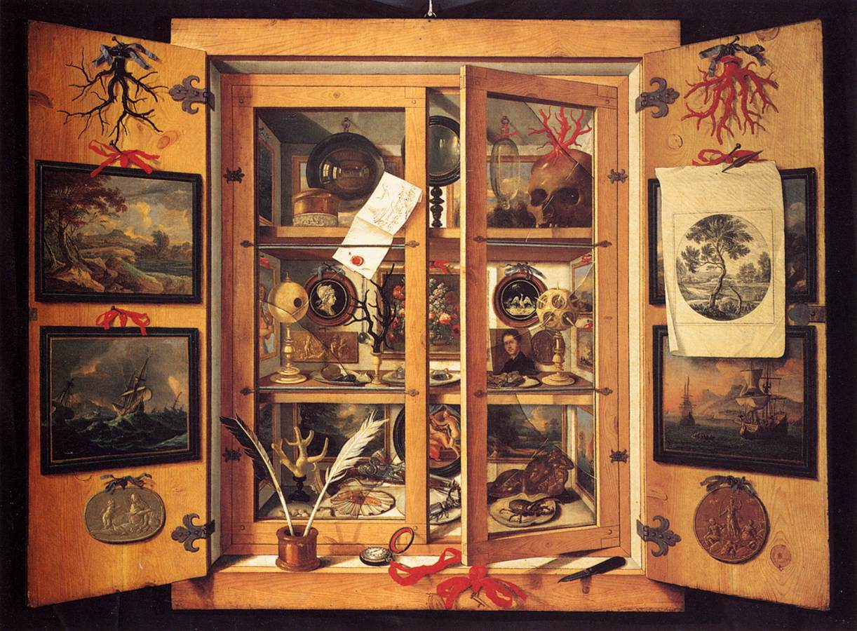 res obscura cabinets of curiosities in the seventeenth century domenico remps a cabinet of curiosity 1690s note the paintings of dutch shipping vessels the mechanism by which most of these eclectic objects