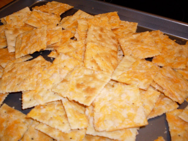 Baked Cheese and Crackers, fresh from the oven and ready to serve.