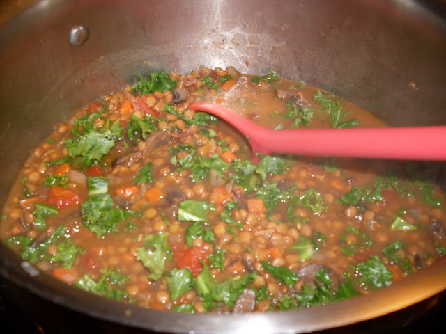 Lentil and Mushroom Soup with Kale and Bacon