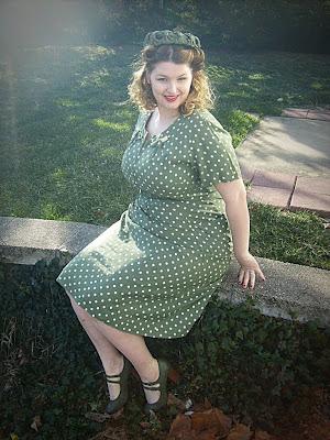 1940s polka dot plus size dress