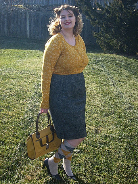 vintage style mustard cardigan, mustard handbag, knee high socks and pin curls via Va-Voom Vintage