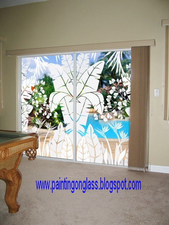Sliding Glass Doors Can Be Decorated ~ painting on glass