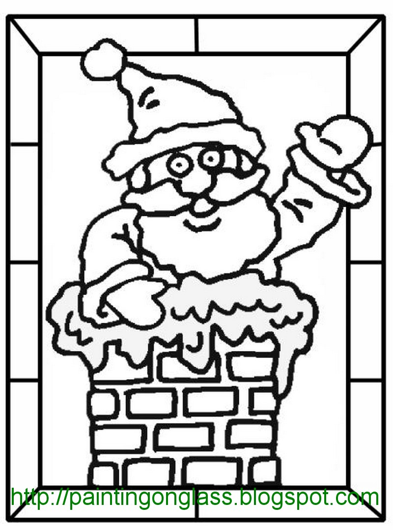 christmas stained glass window templates free glass pattern father xmas painting on glass