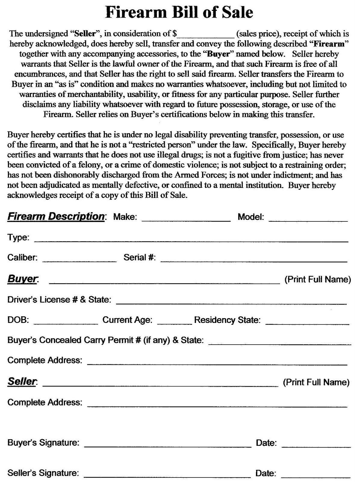 Bill Of Sale Form Gun Free | Online Automatic Resume Builder
