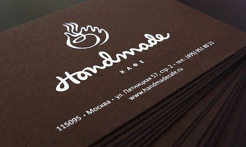 Handmade cafe business card