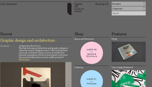 Unit Editions web design