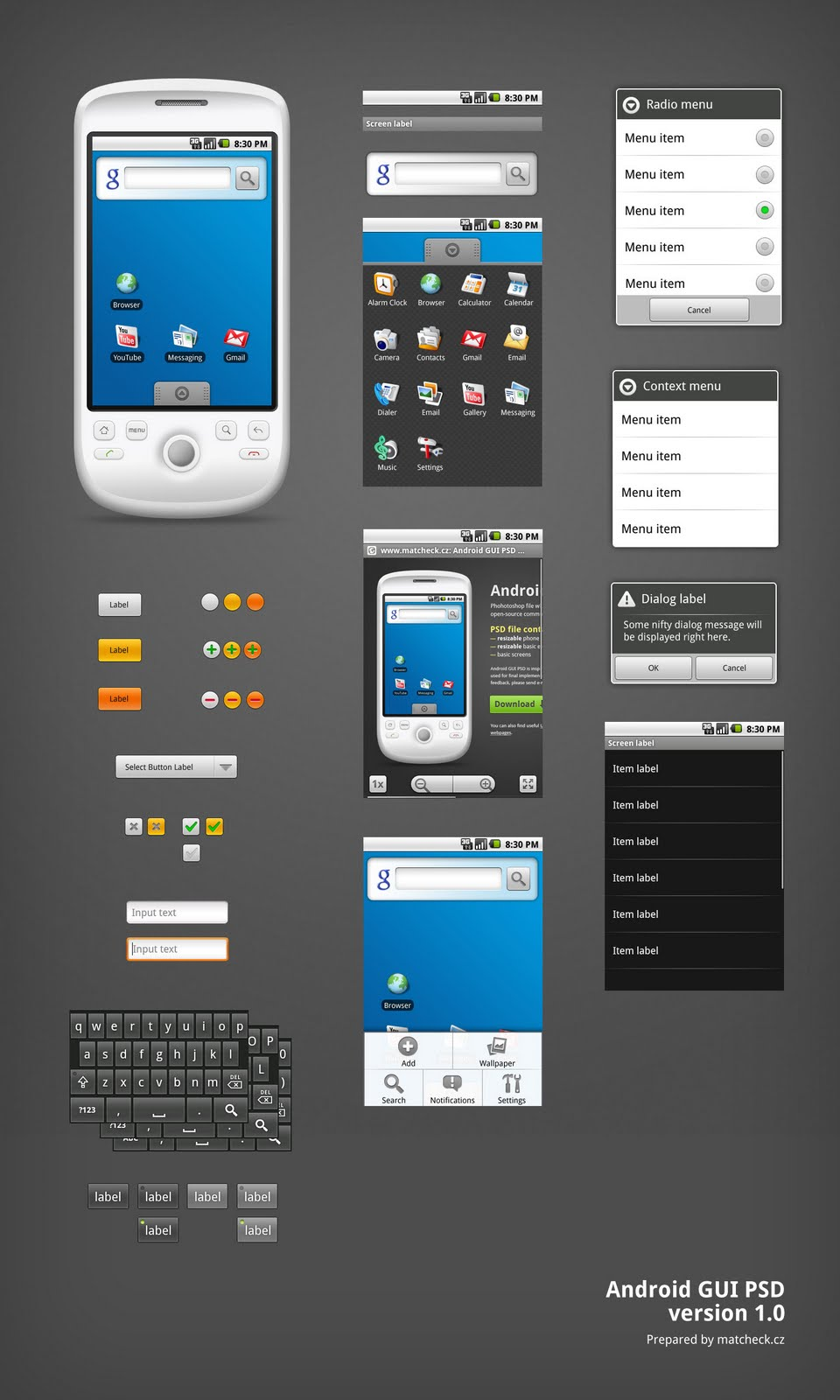 Android interface elements in PSD