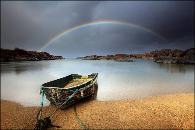 Rainbow and a wee boat