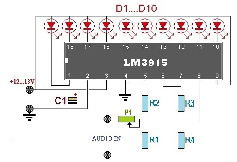 AUDIO POWER METER WITH LM3915