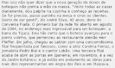 trecho de matéria publicada na VEJA RIO de 02 de novembro de 2005
