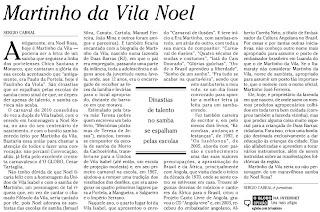 texto de Sérgio Cabral publicado no jornal O GLOBO de 22 de janeiro de 2010