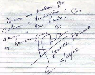 assinatura de Leonel Brizola no livro de ouro do BAR LUIZ