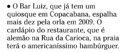 nota publicada no SEGUNDO CADERNO de O GLOBO de 18 de novembro de 2008