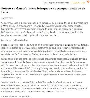 publicado no blog de Juarez Becoza, n´O GLOBO ON LINE, em primeiro de dezembro de 2008