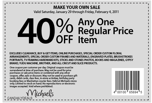 Top Michaels coupon: 40% Off. Find 14 Michaels coupons and promo codes for December, at willbust.ml Be the first to learn about new coupons and deals for popular brands like Michaels with the Coupon Sherpa weekly newsletters. Sale. Print Coupon Show Coupon. Used 53, times. View Michaels weekly in-store offers. Free Ship. Get Deal.