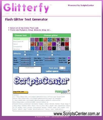 Flash Glitter Text Generator | Clon de Glitterfy com