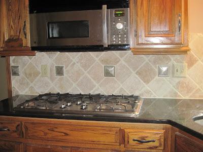 Drennons Custom Tile Travertine Backsplash Diamond pattern