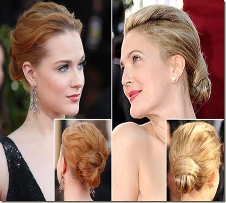 penteado com coque moderno fotos