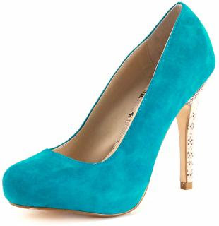 DP Collection Teal Suede Court Shoe