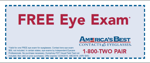If anyone has feedback or comments on America's Best - this is the thread to add it. First off, the basic offer looks like a fantastic deal. For $69 you get an eye exam plus 2 pairs of prescription glasses. Since eye exams generally cost at least $45 at most places, that means the glasses are only about $12 each.
