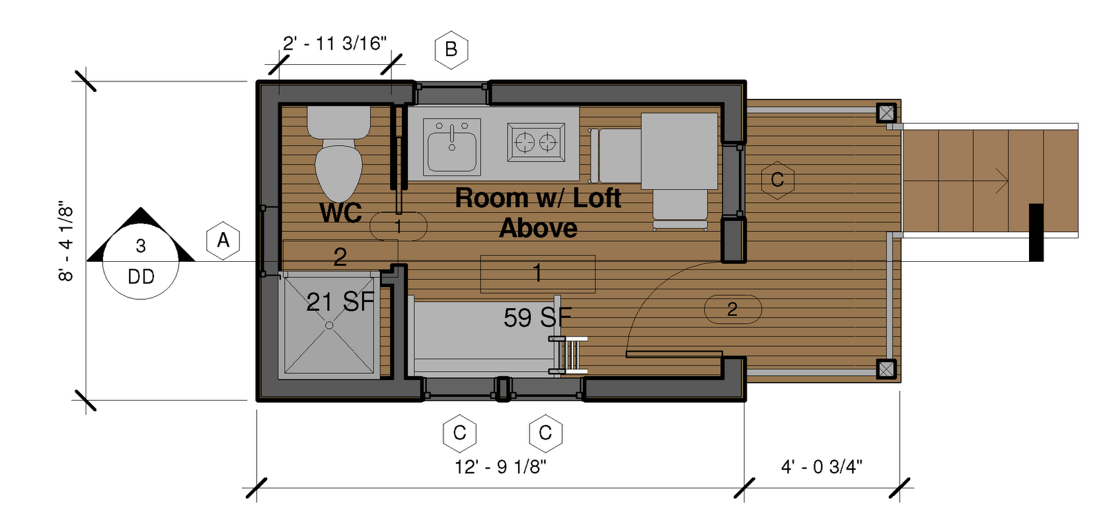 Revit learning club for monday january 24 2011 a tiny for Tiny home floor plans free