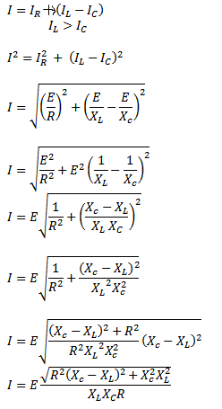 RLC parallel connection formula current calculation