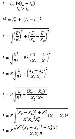 RLC parallel connection formula current calculation