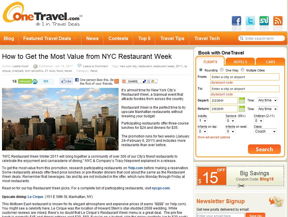 Leslie Koch: I'm a featured blogger on OneTravel.com
