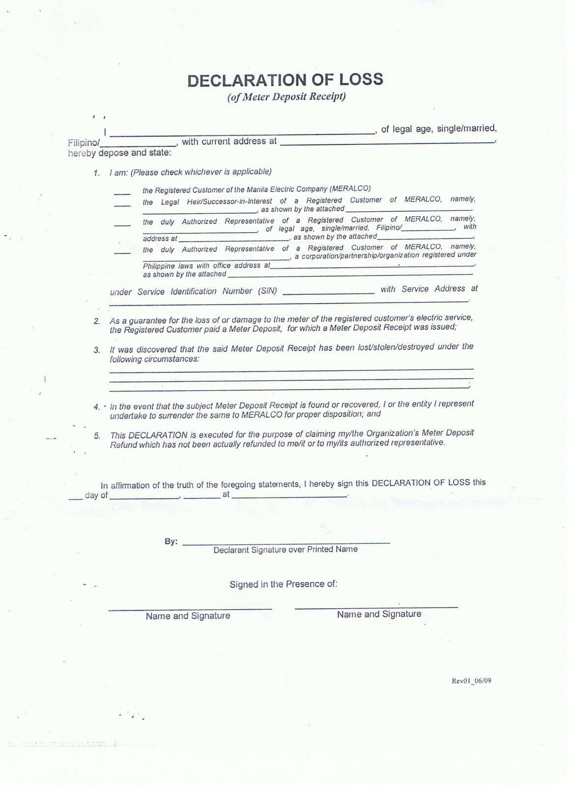 Meralco Deposit Refund | Noelizm  Affidavit Of Loss Template