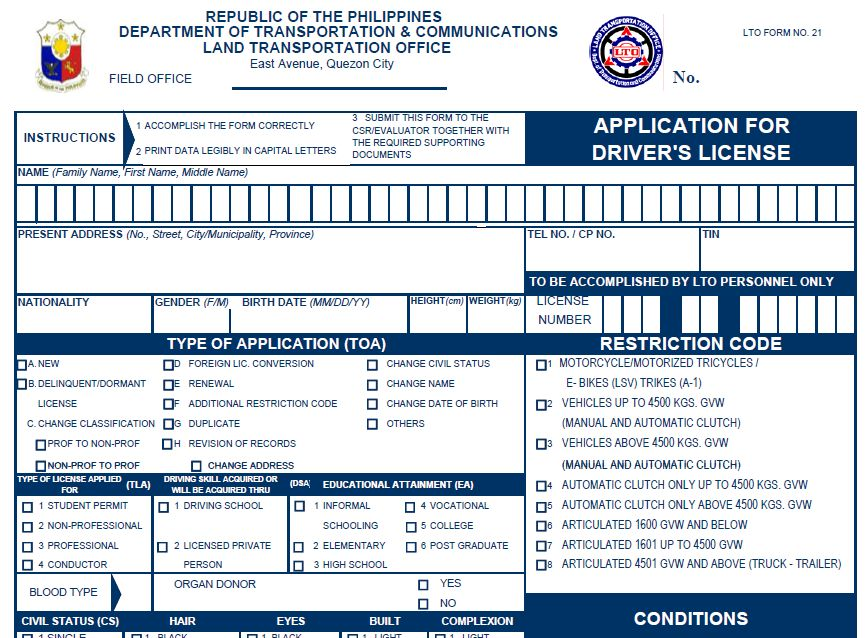 application for occupancy permit, application for social security card, application for driver's license, application for tourist visa, application for identification card, application for disabled parking permit, application for work permit, on application form for driver s licence