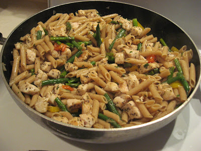This light and delicious pasta dish will leave your guests asking for the recipe. Whole wheat pasta combined with chicken, asparagus, bell peppers, and green beans creates a flavorful masterpiece!