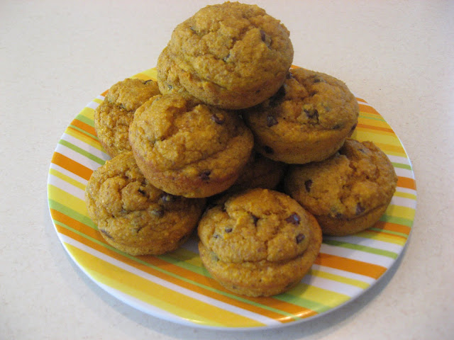 Healthy pumpkin chocolate chip muffin recipe. So delicious and at the same time, nutritious! Try them regular sized or as mini muffins.