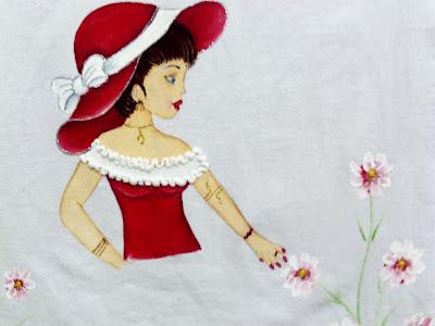 pintura em tecido boneca para saia de croche