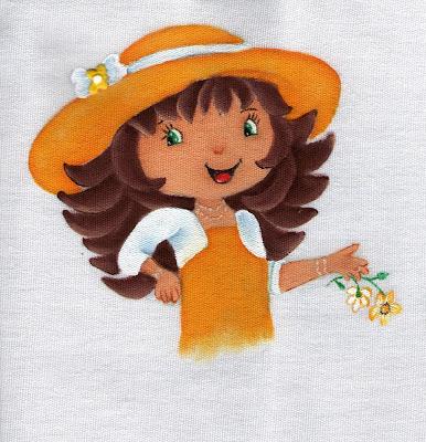 pintura em tecido boneca moranguinho com chapeu para colocar saia de croche